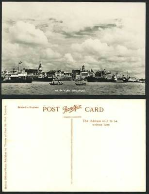 Singapore Old Real Photo Postcard Waterfront Steam Ships Boats Steamers Panorama