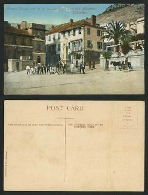 Gibraltar Old Postcard Gunners Parade with Monument of H.M. Late Queen Victoria