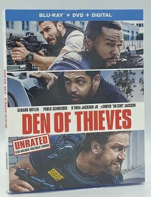 Den of Thieves (Blu-ray+DVD+Digital, 2018; 2-Disc Set) NEW w/ Slipcover
