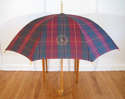 Vintage RALPH LAUREN UMBRELLA Wood Handle Plaid 1970s 1980s Fathers Day Burgundy