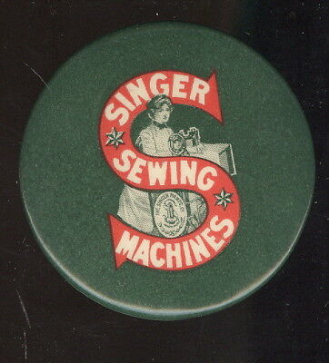 Old Celluloid Singer Sewing Machines Advertising Pocket Mirror