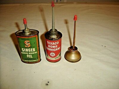 3 Oil Cans: 1 Texaco Home Lubricant - 2 Singer Sewing Machine Oil Cans  9604
