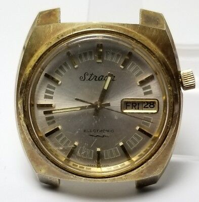 Vintage mens Strada Electronic watch missing hatch not tested for repair #7ENN