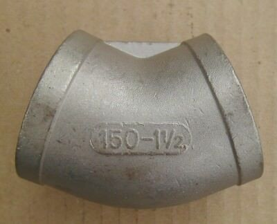 """1 1/2"""" Elbow 45 Degree NPT 304 Stainless Steel Class 150 Pipe Fitting NEW 101"""