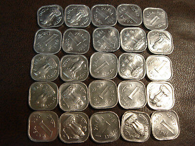 Roll of 25 1966 India 1 One Paisa Paise BU Uncirculated Square Shaped KM#10.1