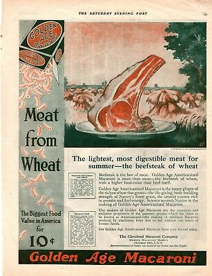 1919 Saturday Evening Post Magazine Print Golden Age Macaroni Advertisement A156