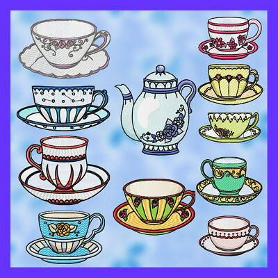 Tea Cups And Tea Pot 10 Machine Embroidery Designs Cd 2 Sizes