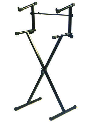 DUAL KEYBOARD STAND X Frame Holds 2 Keyboards Perfect For Live/Studio
