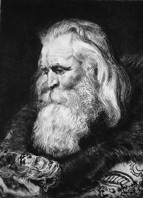 MAGUS Greek the Oldest King Gaspar - 1876 ETCHING Print after Painting by Rubens