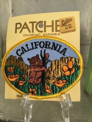 Vintage Embroidered Patch Badge Souvenir Travel Iron On CALIFORNIA State NOS