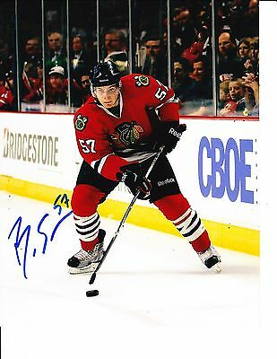 Chicago Blackhawks Ben Smith Signed Red Jersey 8X10