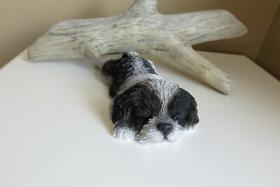 Shih Tzu Puppy Dog Lying Down Sleepy Figurine Ornament Garden Decor Resin 8""