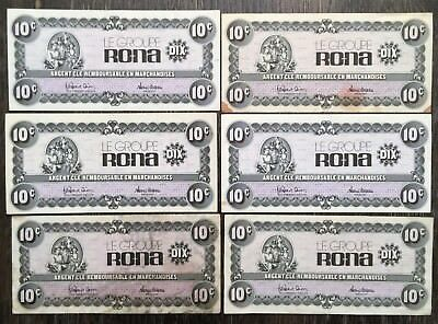 Lot of 6 Rona 10 Cent Notes - Free Combined S/H