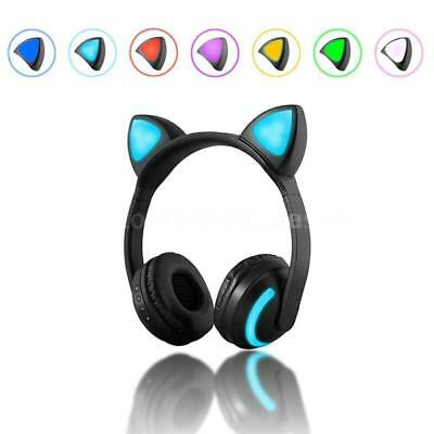 LED Cat Ear Wireless Bluetooth Stereo Music Headset Headphone Earphone Headband