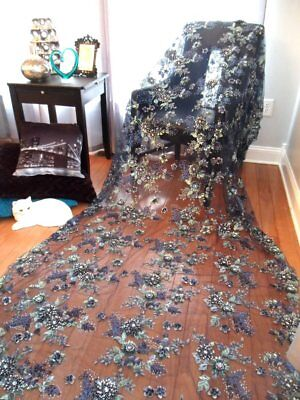 Embroidered 3D 1/3 yard Fabric Navy Blue Sequin Rhinestone Floral Design DH78