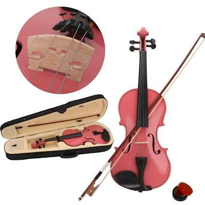 Top Grade 4/4 Full Size Pink Acoustic Violin Set with Case Bow Rosin Bridge
