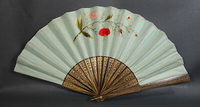 Antique Victorian Fashion Lady's Hand Fan Zebrawood Silk Embroidery Gild Floral