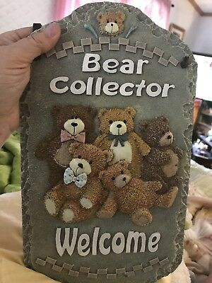"""Bear Collector Welcome Plaque Resin 13""""x7.5"""""""
