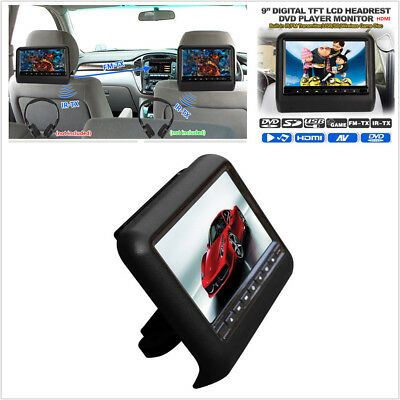 "9"" Car LCD Digital Screen DVD Headrest USB SD Monitor Player Game Remote Control"
