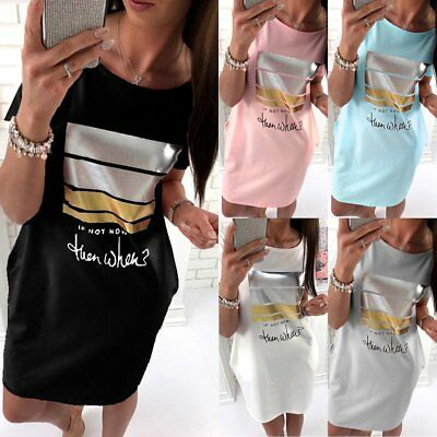 Women Beach Sundress Summer Evening Party Short Sleeve Casual T-Shirt Mini Dress