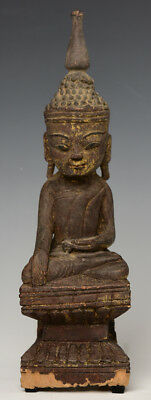 17th Century, Shan, Antique Burmese Wooden Seated Buddha on Double Base