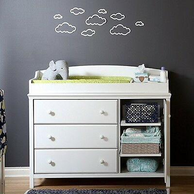 South Shore Cotton Candy Changing Table with 3-Drawers & 2-Shelves in Pure White