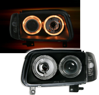 Angel Eyes Scheinwerfer Set VW Polo 6N2 99- in Klarglas Schwarz + Blinker