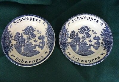 Vintage Pair Schweppes  Advertising Tip Plates Wedgwood Blue Willow