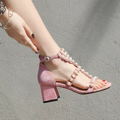 48b9648cf3 Women's Open Toe Suede Pearl Shoes High Block Heel Ankle Strap Sandals Size  8