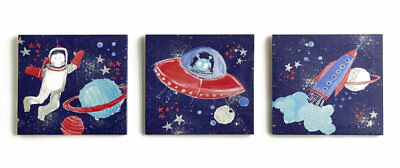 Space Starship Glitter Canvas Art - Set of 3