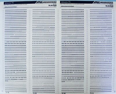 Mecanorma Dry Transfer Lettering Sheet A3 Typo, Fonts 216 Univers 75  2.4mm