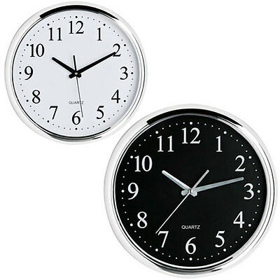 Large Modern 12 Hour Black or White Face Chrome Effect Wall Clock Home Office
