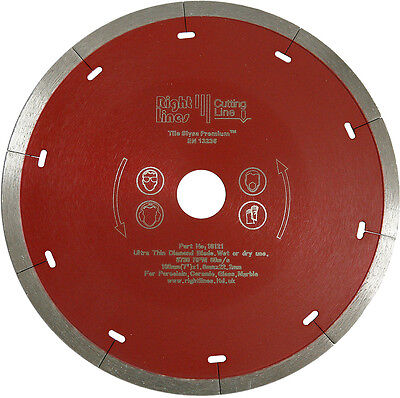 Porcelain Tile Cutting Diamond Disc Blade 200mm x25.4mm. For Wet Saws 1in Bore