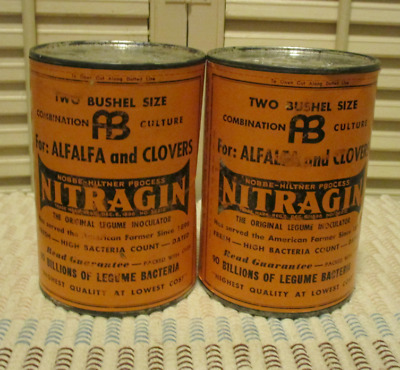2 Vintage Advertising Tin Can NITRAGIN Legume Unopened Antique Garden Product
