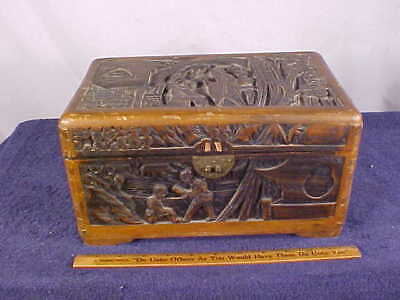 Antique Hand CARVED (All Sides & Top) Wooden ORIENTAL BOX/TEA CADDY