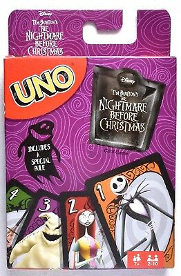 DISNEY The Nightmare Before Christmas Uno Card Game Tim Burton 2-10 Players >NEW