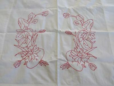 Antique Vintage Redwork Embroidered Pillow Layover Topper Quilt Block FLORAL