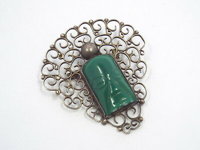 Vintage Mexico Sterling Silver Filigree Lace Carved Green Stone Mask Brooch Pin