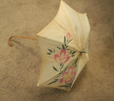 """Vintage Antique 1920s Hand Painted Japanese Style Parasol Oriental Bamboo 19.5"""""""
