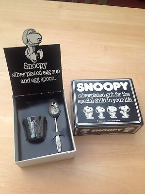 Snoopy Silver Plated Spoon And Egg Cup Boxed 1958 Vintage