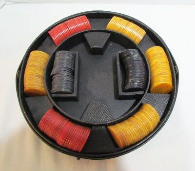 BAKELITE CATALIN POKER CHIPS 198 in RED, GREEN & YELLOW W/ CIRCULAR CADDY CASE