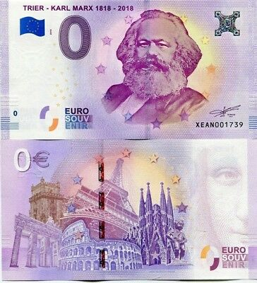 Limited Edition!! 0 EURO BANKNOTE - KARL MARX TRIER 1818-2018=200 YEARS. NEW UNC