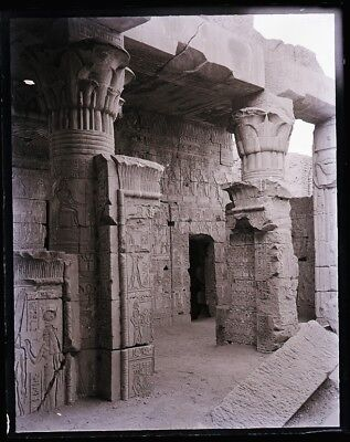 """LATE 1800s, ANTIQUE GLASS NEGATIVE; EGYPT, """"TEMPLE OF YEDURED???"""" COLUMNS, CARVE"""