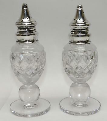 Vintage HAWKES Cut CRYSTAL & SILVER SALT & PEPPER SHAKERS -CLEAN!- FreeShipping!