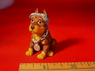 """Hood Pups DOBERMAN PINSCHER WITH HEADWRAP Dog 2"""" Figure hard to find collectible"""