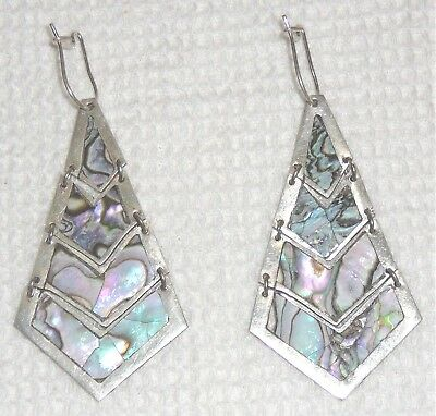 Circa 1960 Sterling silver and abalone four-tiered pierced earrings