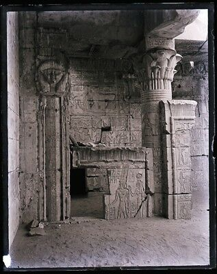 """LATE 1800s, ANTIQUE GLASS NEGATIVE; EGYPT, 2nd  """"TEMPLE OF YEDURED???"""" COLUMNS,"""