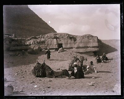 """LATE 1800s, ANTIQUE GLASS NEGATIVE; EGYPT,  """"RESTING AT FOOT OF  PYRAMID"""""""