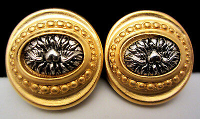 "Boutique New Old Stock Vintage 1"" Gold/Silver Tone Clip On Earrings AH12"