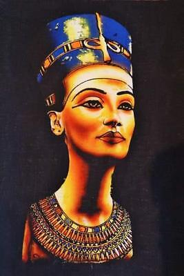 "XL Unique Signed Handmade Papyrus Egyptian Queen Nefertiti Mask Painting_17""x13"""